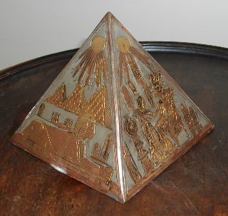 An Art Deco C1920s Egyptian Theme Metal Pyramid Desk Top Paperweight photo