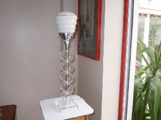 Art Deco Type 1960 ' S Designer Perspex Bakelite Tall Table Lamp photo