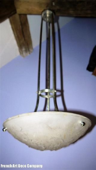 Muller French Art Deco Ceiling Light Signed C1930 photo