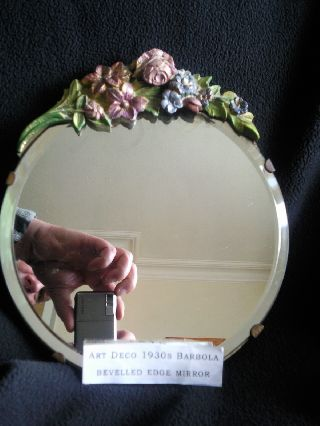 Stunning Art Deco 20cm Round Barbola Bevelled Edge Mirror. photo