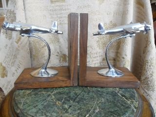Art Deco Vintage Chrome Wood Bookends Aeroplane Old Fashioned Figurine Statue photo