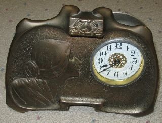 1920s Metal Art Deco Dresser Alarm Clock photo