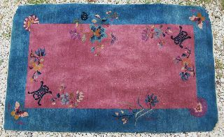 Art Deco Antique 1930 ' S Chinese Butterflies & Designs Wool Rug Carpet 59
