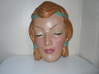 Art Deco Vintage Stunning Stamped Lady ' S Face Wall Mask photo