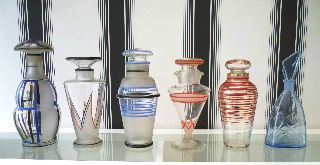 Fine Set Of 6 1920s & 30s Art Deco Glass Decanters - Czechoslovakian & French photo