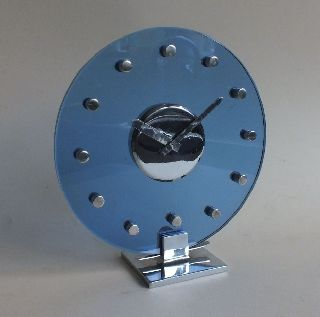 Stunning French Art Deco Modernist Chrome & Cobalt Blue Glass Clock Pwo photo