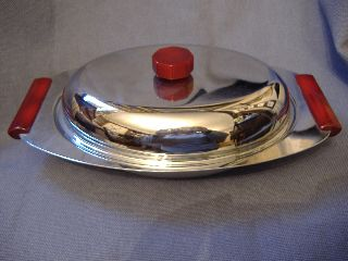Stylish Art Deco Chrome & Red Bakelite/lucite Serving Dish - Usa - Vintage - Retro photo