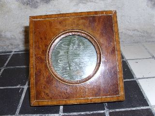 An 1930 ' S Art Deco Solid Burr Wood Photograph Frame With Inlaid Rim photo