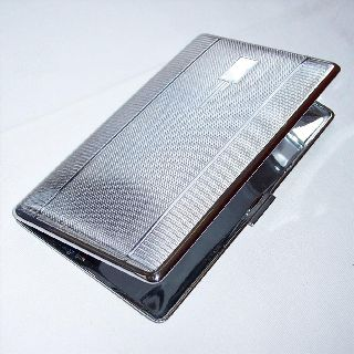 Lge 1930s Art Deco Engine Turned Decoration Cigarette Case Silver Tone photo