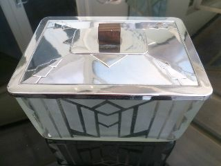 1920s Art Deco Lidded Butter Dish / Cookie Jar / Cotton Bud Holder Etched Glass photo