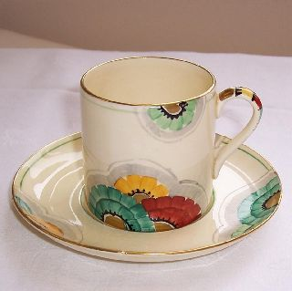 1930s Art Deco Crown Devon Coffee Can Cup & 2 Saucers Hand Painted Flower Design photo