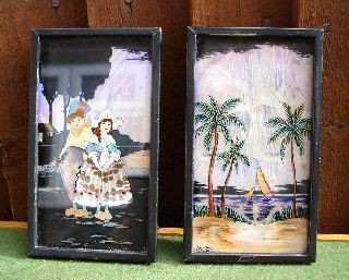 Two Miniature Art Deco 1930 ' S Butterfly Wing Pictures Signed Dorothy Ordway photo