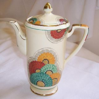 1930s Art Deco Crown Devon Coffee Pot Hand Painted Flower Design & Gilt Detail photo