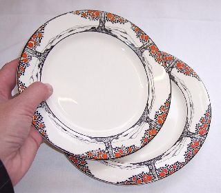 Pair Of Crown Ducal Side Plates Orange Tree Design - 7