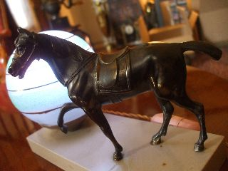 French Art Deco Horse Statue 1920s Desk Table With Globe Light On Marble Stand photo