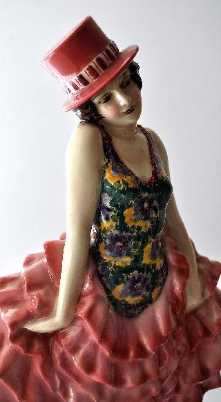 Goldscheider Lorenzl Signed Art Deco Top Hat Dancer Can Can Female Figure 34cm photo