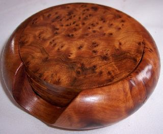 Stunning Solid Burr Wood Coasters Set 1930s Art Deco In Design - Grain photo
