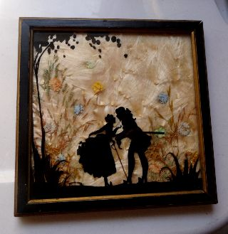 Art Deco Reverse Hand Painted Glass W/ Natural Dried Flowers&element Background photo