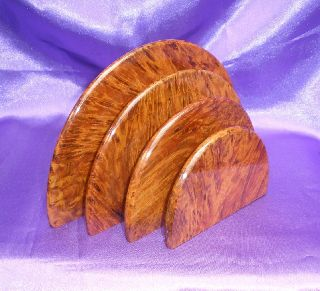Solid Burr Wood Letter Rack Art Deco 1930 ' S Design ~ 3 Compartments Desktop photo