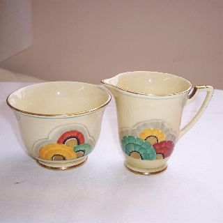 1930s Art Deco Crown Devon Milk Jug & Sugar Bowl Hand Painted Flower Design photo