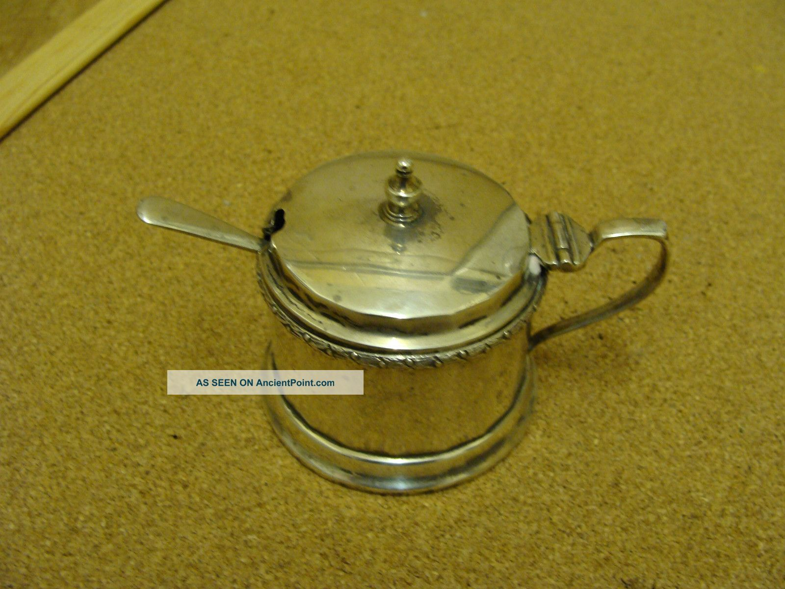 Antique Solid Silver Mustard Pot - Drum Shaped - With Blue Glass Liner & Spoon Mustard Pots photo