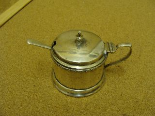 Antique Solid Silver Mustard Pot - Drum Shaped - With Blue Glass Liner & Spoon photo