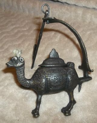 Orientalist Figural Camel Decorative Art Tent Hanging Oil Burner Lamp N/r photo