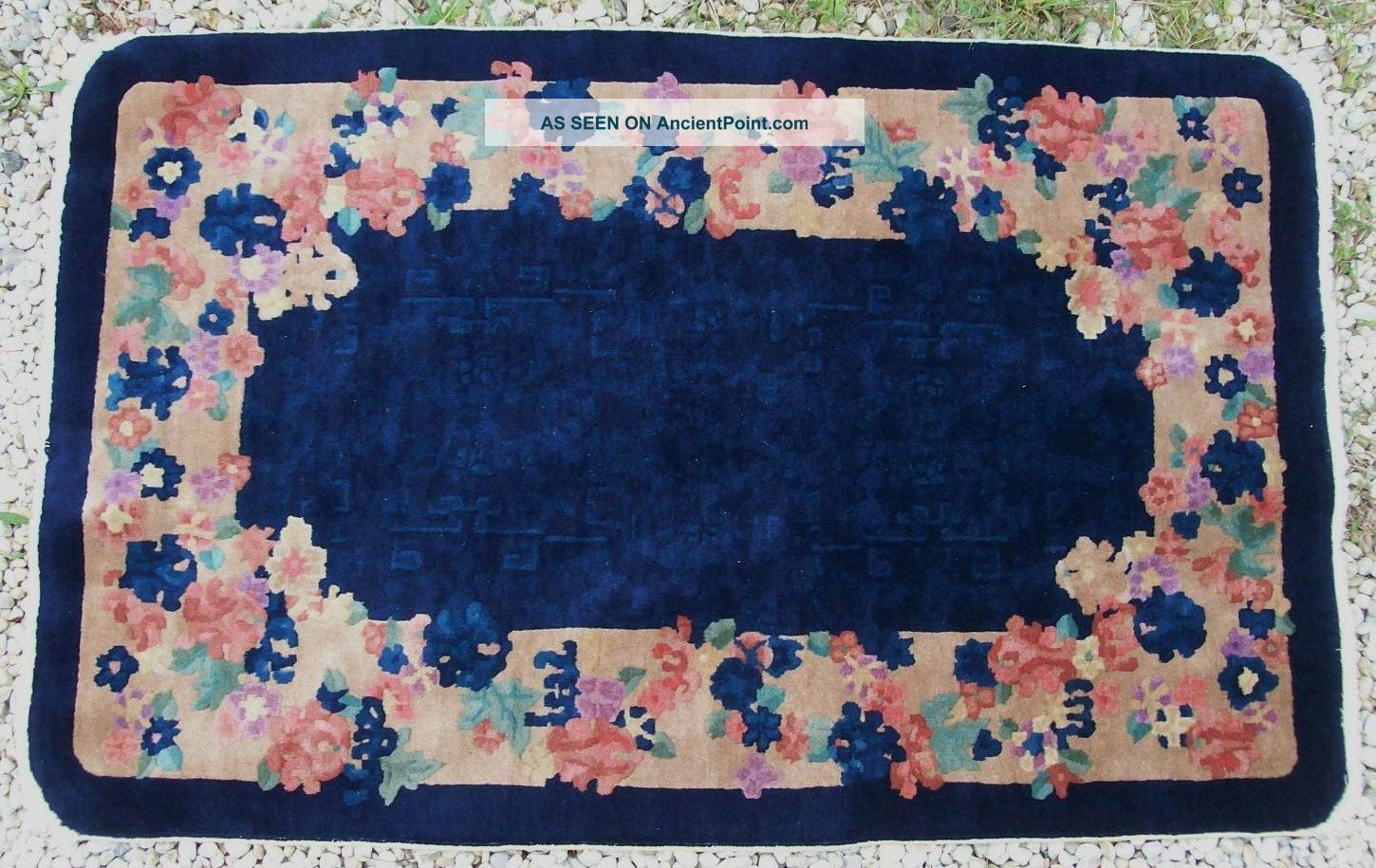 Art Deco Antique 1930 ' S Chinese Flowers And Designs Wool Rug Carpet 60
