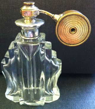 Art Deco Perfume Bottle Silver Hallmarked & Heavy Glass photo