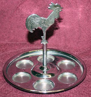 Rare Art Deco Chrome Rooster Hammered Aluminum Tray Vintage Farberware photo