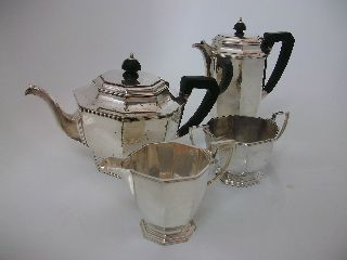 Vintage Silver Plated Art Deco Tea/coffee Set Mappin & Webb Prince ' S Plate photo