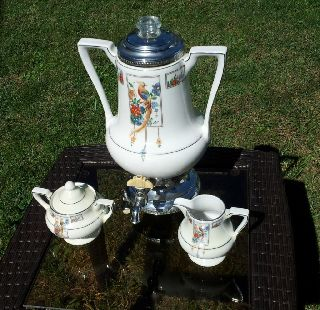 Antique Royal Rochester Art Deco Fraunfelter Golden Pheasant Coffee Creamer Set photo