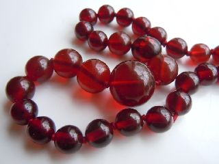 Art Deco 1930 ' S Real Cherry Amber (not Bakelite) Graduated Necklace photo