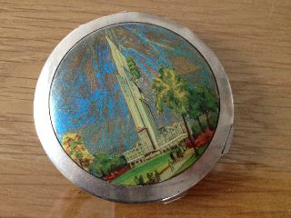 Vintage English Art Deco Butterfly Wing Compact - Glasgow Empire Exhibition 1938 photo