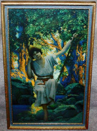 Maxfield Parrish Framed Edison Mazda Calendar Top Dream Light 1925 Rare photo