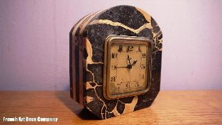 French Art Deco Modernist Marble Clock C1930 photo