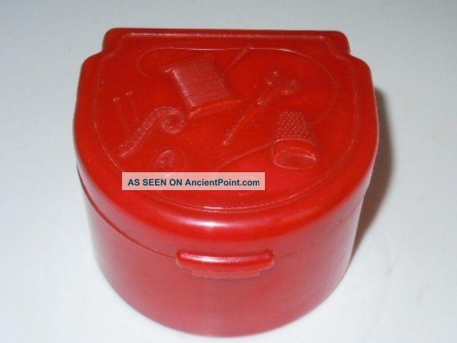 Art Deco Vintage Red Early Plastic Bakelite??? Traveling Sewing Box Art Deco photo