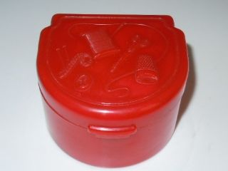 Art Deco Vintage Red Early Plastic Bakelite??? Traveling Sewing Box photo