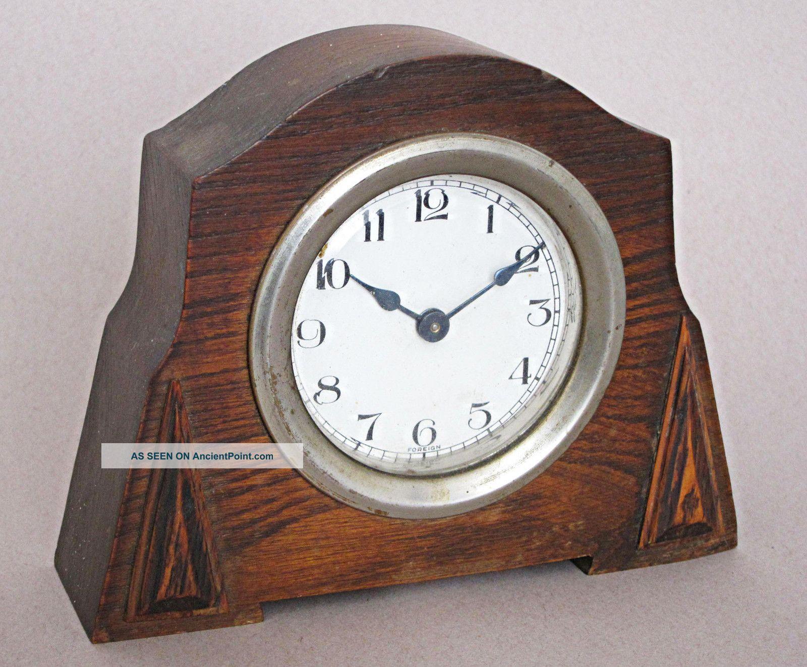 Vintage Art Deco Oak Mantle Clock 1920 Art Deco photo