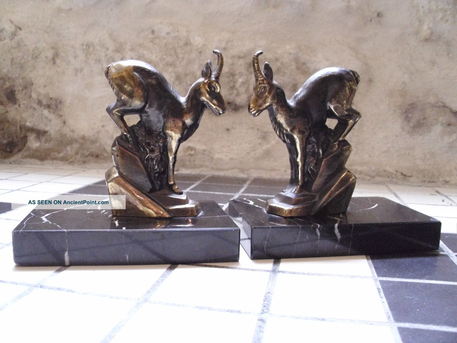 A Pair Of Art Deco Bookends With Stylised Bronzed Goats/rams On Marble Bases Art Deco photo