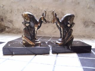 A Pair Of Art Deco Bookends With Stylised Bronzed Goats/rams On Marble Bases photo