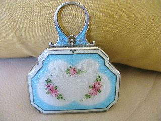 Antique Art Nouveau Deco Silver Guilloche Enamel Powder Lipstick Compact Exl photo