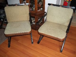 Pair Of Howell Chairs Wool And Vinyl Cushions On Wood And Metal Frames photo