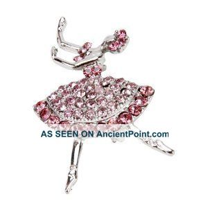 Art Deco Silver Pink Diamonte Jewel Dancer Lady Ballerina Brooch Art Deco photo