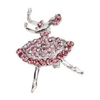Art Deco Silver Pink Diamonte Jewel Dancer Lady Ballerina Brooch photo