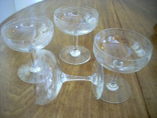 Set Of 4 Elegant Art Deco Champagne Saucers - Coupe Glasses photo