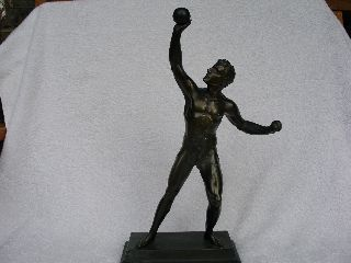 Art Deco Bronzed Figure Of Athelete.  A/f. photo
