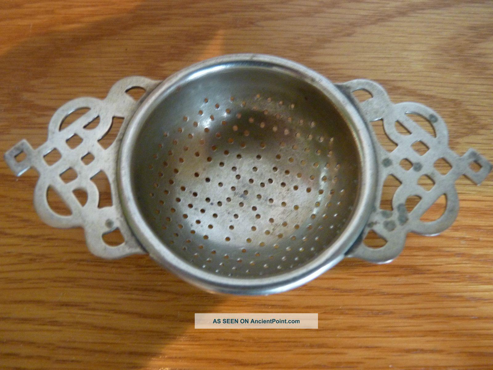 C1920 Art Deco Epns Silver Plated Lugged Tea Strainer Art Deco photo
