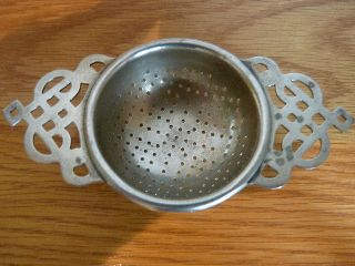 C1920 Art Deco Epns Silver Plated Lugged Tea Strainer photo