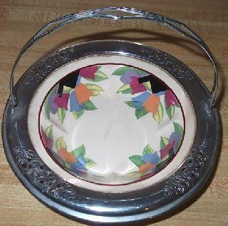 1920 ' S Farberware Undertone & Leigh Potters Art Deco Tulips Basket photo